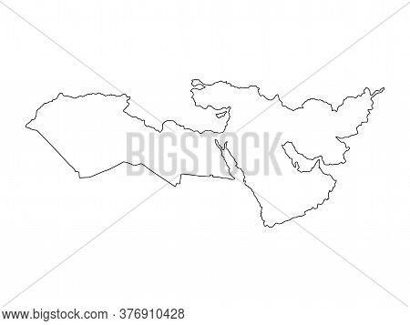 Middle East Line Map Vector. Middle East Silhouette Illustration Isolated On White