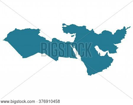 Middle East Map Vector. Middle East Silhouette Illustration Isolated On White