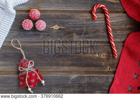 New Year Flat Lay: Christmas Linen Tree With Hearts, Candy Cane, Tiny Snow Sugar Apples, White Woole