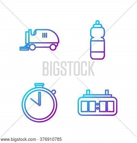 Set Line Hockey Mechanical Scoreboard, Stopwatch, Ice Resurfacer And Fitness Shaker. Gradient Color