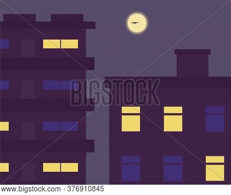 Illustration Vector Design Of A View Of Apartment Building At Midnight.