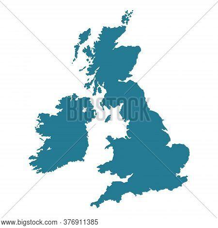 United Kingdom Map Shape. Uk Silhouette Vector Illustration Isolated On White.