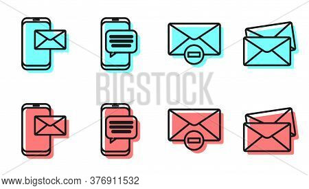 Set Line Delete Envelope, Mobile And Envelope, Chat Messages Notification On Phone And Envelope Icon