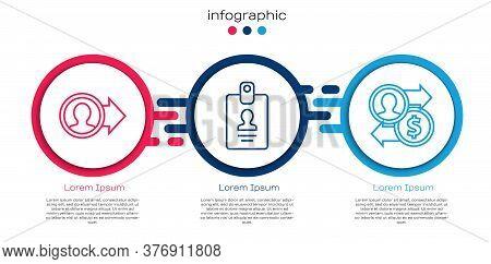 Set Line Job Promotion, Identification Badge And Job Promotion Exchange Money. Business Infographic