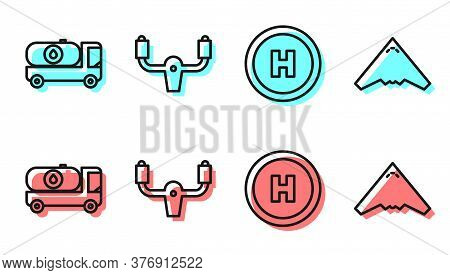 Set Line Helicopter Landing Pad, Fuel Tanker Truck, Aircraft Steering Helm And Jet Fighter Icon. Vec