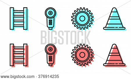 Set Line Circular Saw Blade, Wooden Staircase, Angle Grinder And Traffic Cone Icon. Vector