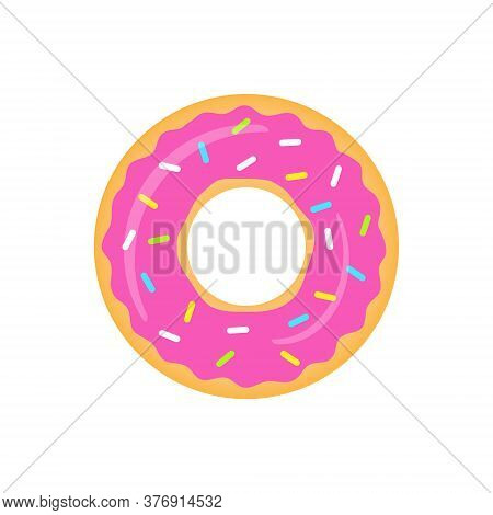 Pink Donut Vector Isolated On White. Sweet Donuts With Strawberry Glaze Illustration.