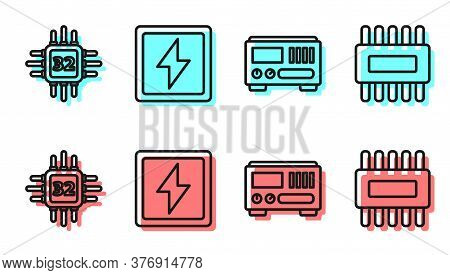 Set Line Electrical Measuring Instruments, Processor With Microcircuits Cpu, Lightning Bolt And Proc