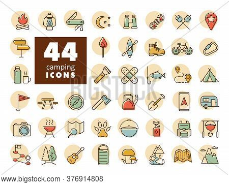 Camping, Hiking, Nature And Outdoor Activities Icons Set. Graph Symbol For Travel And Tourism Web Si