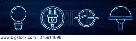 Set Line Electric Circuit Scheme, Light Bulb With Concept Of Idea, Electric Plug And Light Emitting
