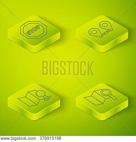 Set Isometric Route Location, Folded Map With Push Pin, Search Location And Stop Sign Icon. Vector