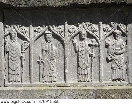Stonework frieze in ruin in graveyard  at county dublin\\\\\\\