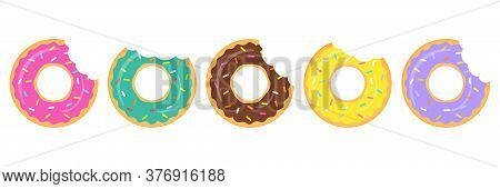 Donut Colorful Vector Set Isolated On White Background. Donuts With A Mouth Bites, Group. Sweet Donu