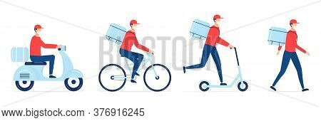 Online Delivery Service Set. Scooter, Bicycle Courier And Delivery Man In Respiratory Mask. Delivery