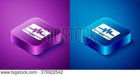 Isometric Laptop With Cardiogram Icon Isolated On Blue And Purple Background. Monitoring Icon. Ecg M