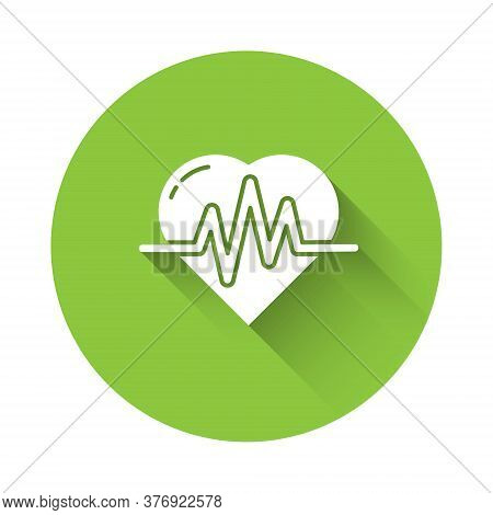 White Heart Rate Icon Isolated With Long Shadow. Heartbeat Sign. Heart Pulse Icon. Cardiogram Icon.