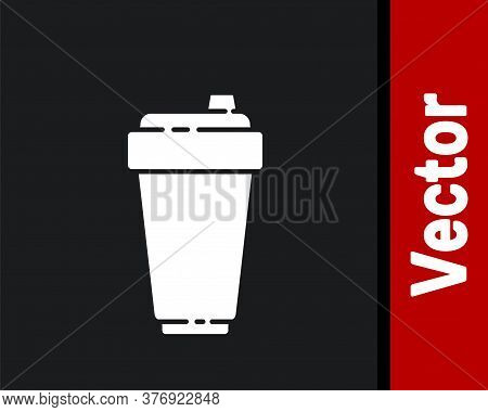 White Fitness Shaker Icon Isolated On Black Background. Sports Shaker Bottle With Lid For Water And