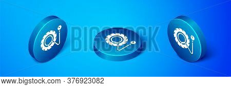 Isometric Tire Pressure Gauge Icon Isolated On Blue Background. Checking Tire Pressure. Gauge, Manom