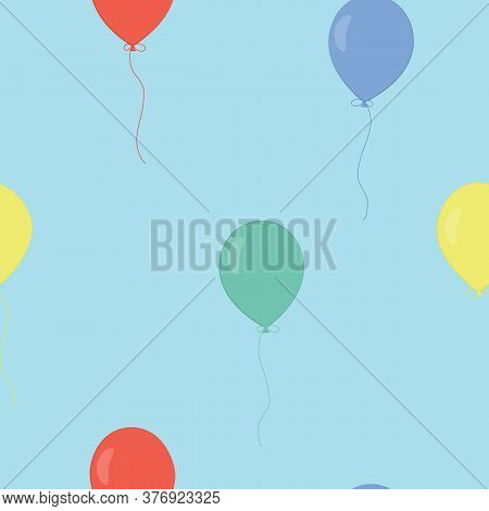 Vector Seamless Pattern With Colorful Balloons On Blue Background. For Fabric, Textile, Linen, Gift