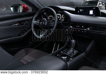 Novosibirsk/ Russia - April 28 2020: Mazda 3, Salon Of A New Stylish Car, Steering Wheel , Dashboard