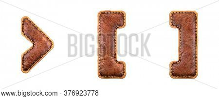 Set of symbols right angle bracket, left and right bracket made of leather. 3D render font with skin texture isolated on white background. 3d rendering