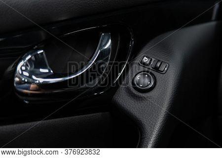 Novosibirsk/ Russia - June 30 2020: Nissan Qashqai, Closeup Of A Door Control Panel In A New Car. Ar