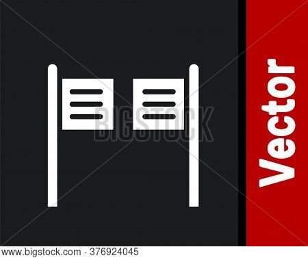 White Old Western Swinging Saloon Door Icon Isolated On Black Background. Vector Illustration