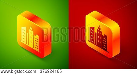 Isometric City Landscape Icon Isolated On Green And Red Background. Metropolis Architecture Panorami