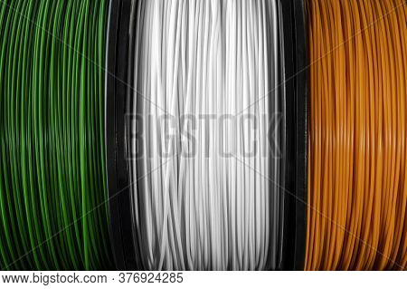 Ireland Flag Of The Coils For 3d Printer. Filament For 3d Printing. Bright Thermoplastic Of Green, W