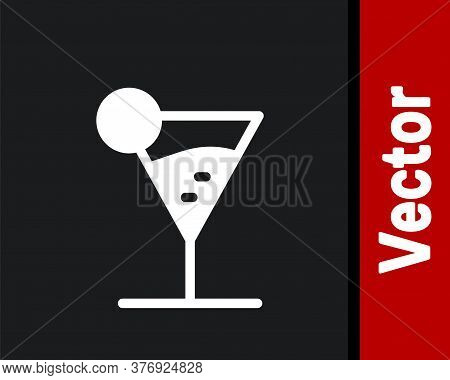 White Martini Glass Icon Isolated On Black Background. Cocktail Icon. Wine Glass Icon. Vector Illust