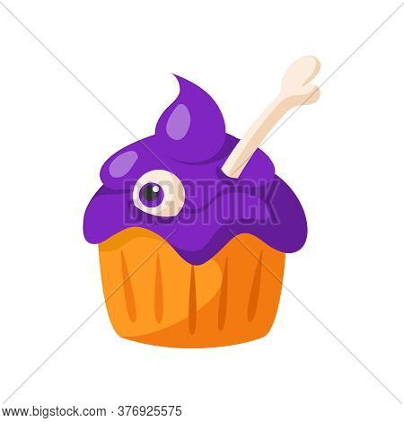Halloween Cartoon Scary Creepy Cake With Bone And Eye, Traditional Holiday Symbol, Single Isolated E