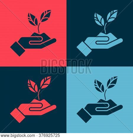Pop Art Plant In Hand Of Environmental Protection Icon Isolated On Color Background. Seed And Seedli