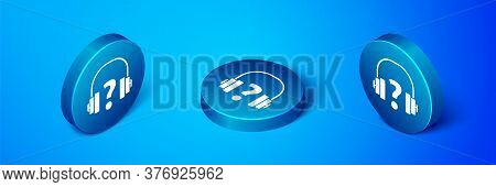 Isometric Headphones Icon Isolated On Blue Background. Support Customer Service, Hotline, Call Cente