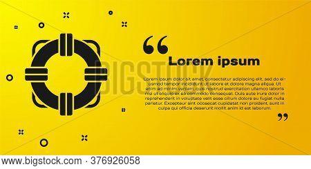 Black Lifebuoy Icon Isolated On Yellow Background. Lifebelt Symbol. Vector Illustration