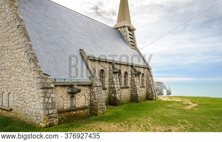 Church With View On Etretat Cliff, Normandy France
