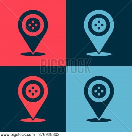 Pop Art Location Tailor Shop Icon Isolated On Color Background. Vector Illustration