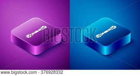 Isometric Yarn Icon Isolated On Blue And Purple Background. Label For Hand Made, Knitting Or Tailor