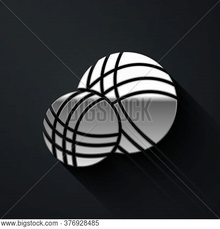 Silver Yarn Ball Icon Isolated On Black Background. Label For Hand Made, Knitting Or Tailor Shop. Lo