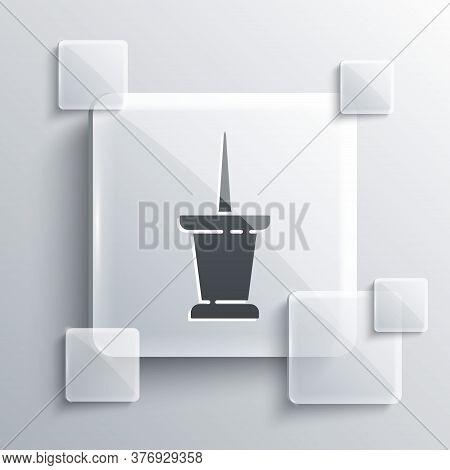 Grey Push Pin Icon Isolated On Grey Background. Thumbtacks Sign. Square Glass Panels. Vector Illustr