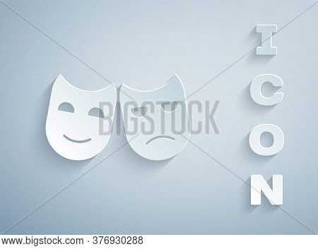 Paper Cut Comedy And Tragedy Theatrical Masks Icon Isolated On Grey Background. Paper Art Style. Vec