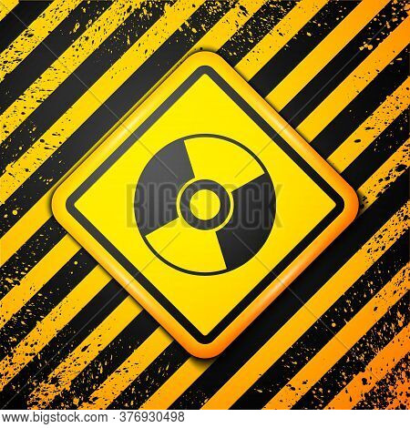 Black Cd Or Dvd Disk Icon Isolated On Yellow Background. Compact Disc Sign. Warning Sign. Vector Ill