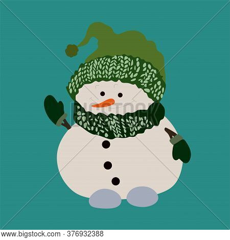 A Snowman In A Green Hat, Green Gloves And A Green Scarf.the Happy Snowman Waves His Hand.isolated O