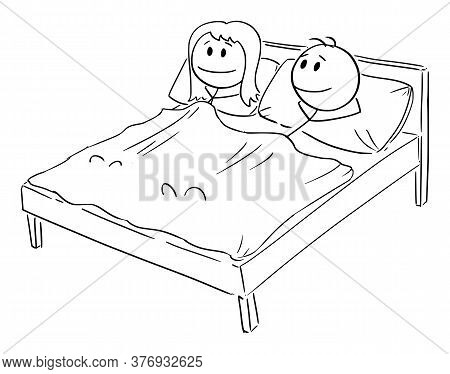 Vector Cartoon Stick Figure Drawing Conceptual Illustration Of Happy Smiling Heterosexual Couple Of