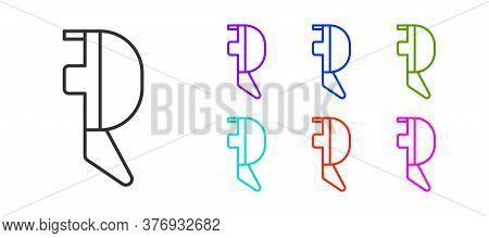 Black Line Fencing Helmet Mask Icon Isolated On White Background. Traditional Sport Defense. Set Ico