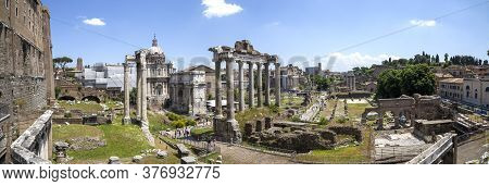 A Panoramic View Of The Ruins Of Ancient Rome At The Roman Forum In Rome, Italy