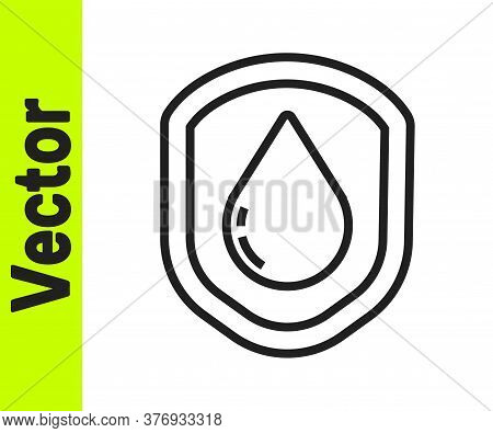Black Line Waterproof Icon Isolated On White Background. Water Resistant Or Liquid Protection Concep