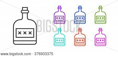 Black Line Alcohol Drink Rum Bottle Icon Isolated On White Background. Set Icons Colorful. Vector Il
