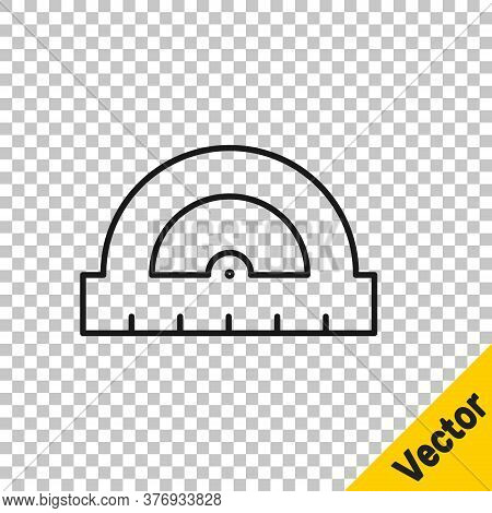 Black Line Protractor Grid For Measuring Degrees Icon Isolated On Transparent Background. Tilt Angle