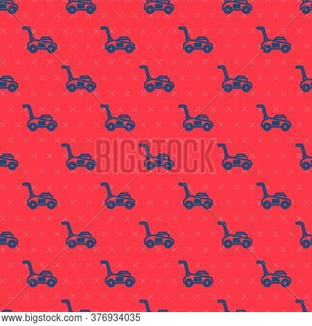Blue Line Lawn Mower Icon Isolated Seamless Pattern On Red Background. Lawn Mower Cutting Grass. Vec
