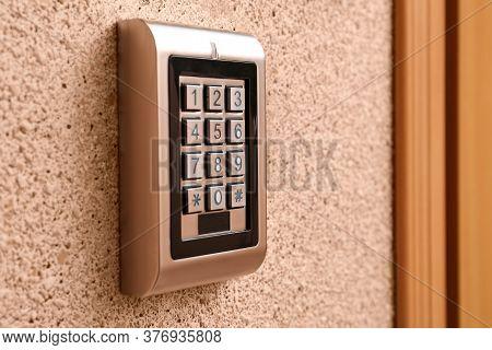 Keypad Of Modern Electronic Lock Indoors, Closeup